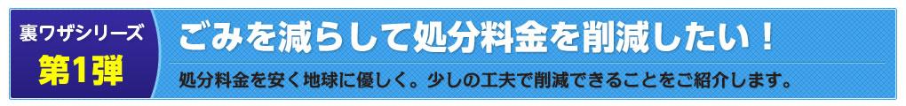 裏ワザシリーズ第1弾:ごみを減らして処分料金を削減したい!