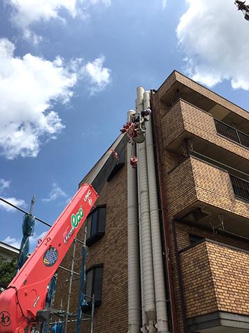 4階建ての高所での作業